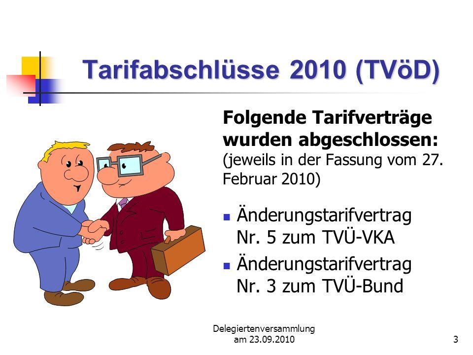 Delegiertenversammlung am 23.09.20104 Tarifabschlüsse 2010 (TVöD) Folgende Tarifverträge wurden abge- schlossen: (jeweils in der Fassung vom 27.