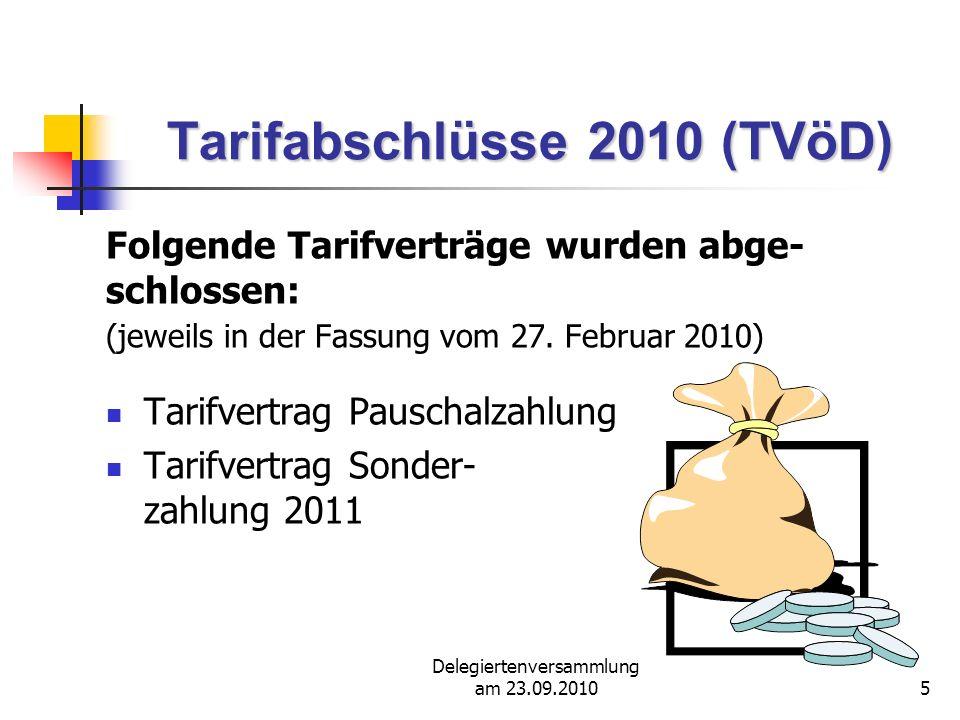 Delegiertenversammlung am 23.09.201026 Tarifvertrag einmalige Pauschalzahlung Beschäftigte mit Arbeiter- tätigkeiten, in der Kranken- pflege sowie im Sozial- und Erziehungsdienst haben keinen Anspruch auf die einmalige Pauschalzahlung.