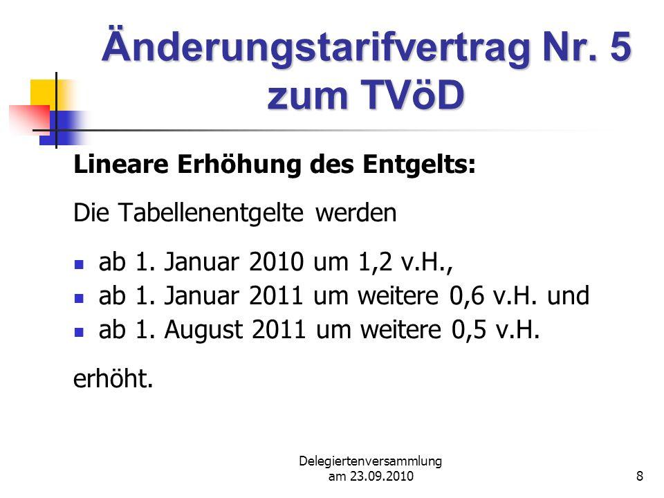 Delegiertenversammlung am 23.09.201029 Tarifabschluss 2010 (TVöD) P A U S E ! ! !