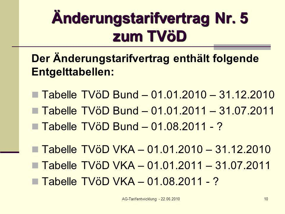 AG-Tarifentwicklung - 22.06.201010 Änderungstarifvertrag Nr. 5 zum TVöD Der Änderungstarifvertrag enthält folgende Entgelttabellen: Tabelle TVöD Bund