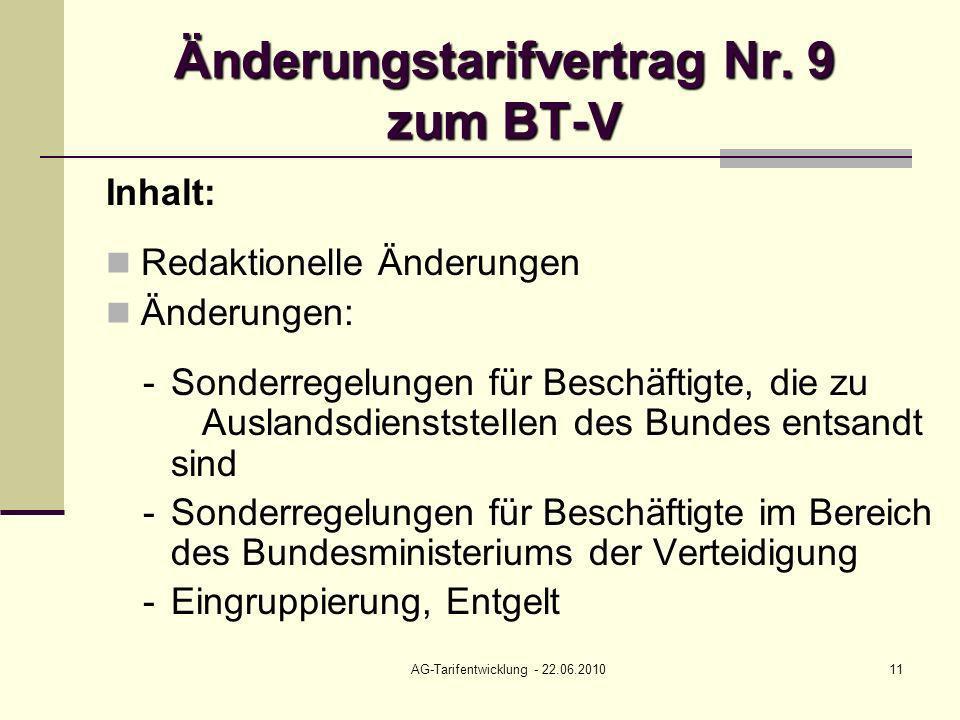 AG-Tarifentwicklung - 22.06.201011 Änderungstarifvertrag Nr. 9 zum BT-V Inhalt: Redaktionelle Änderungen Änderungen: - Sonderregelungen für Beschäftig