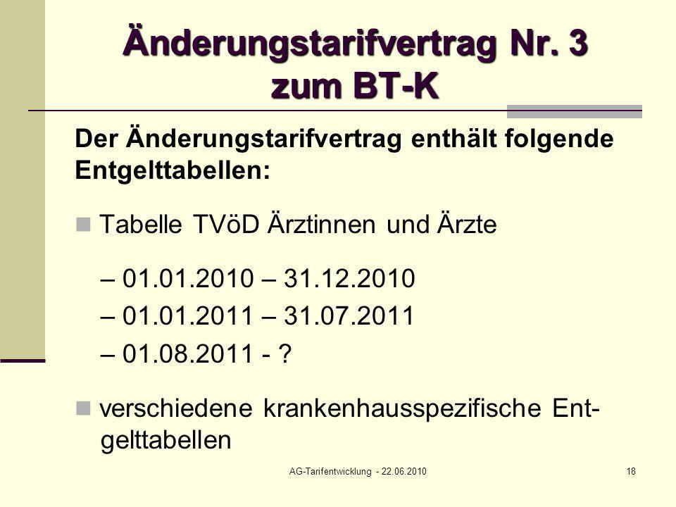 AG-Tarifentwicklung - 22.06.201018 Änderungstarifvertrag Nr. 3 zum BT-K Der Änderungstarifvertrag enthält folgende Entgelttabellen: Tabelle TVöD Ärzti