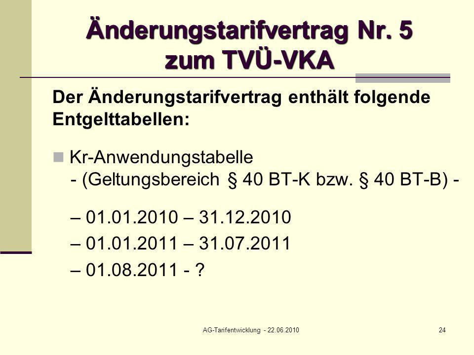 AG-Tarifentwicklung - 22.06.201024 Änderungstarifvertrag Nr. 5 zum TVÜ-VKA Der Änderungstarifvertrag enthält folgende Entgelttabellen: Kr-Anwendungsta