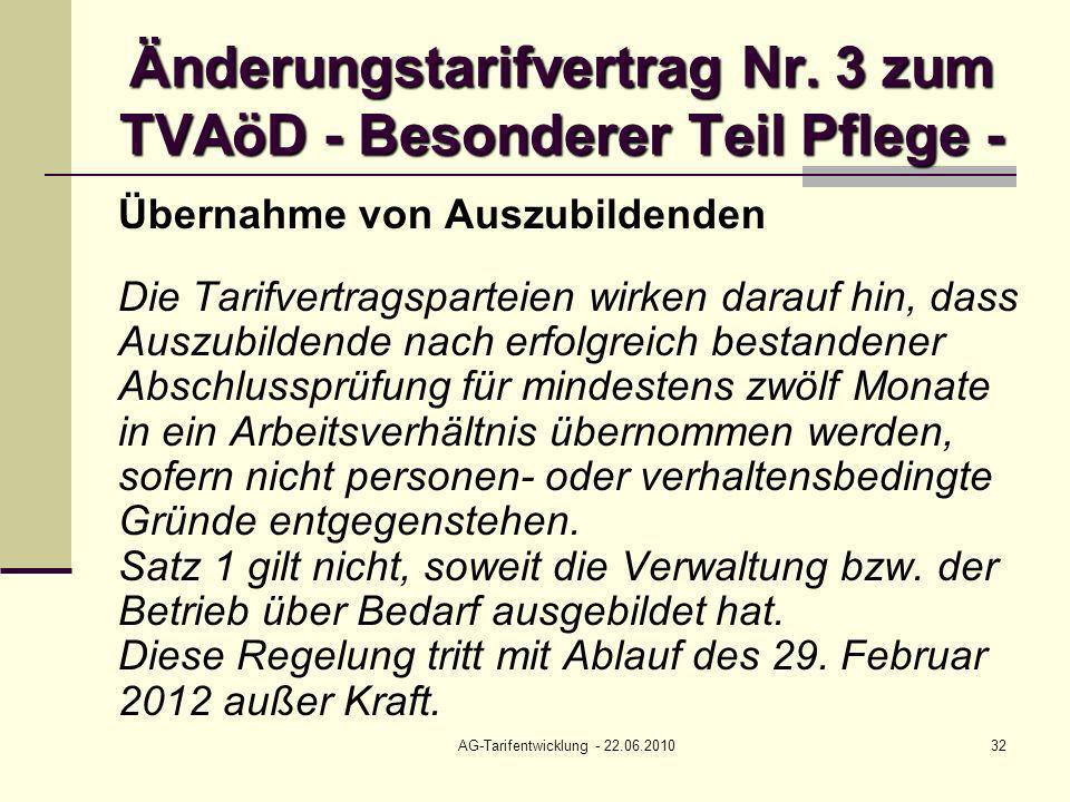 AG-Tarifentwicklung - 22.06.201032 Änderungstarifvertrag Nr. 3 zum TVAöD - Besonderer Teil Pflege - Übernahme von Auszubildenden Die Tarifvertragspart