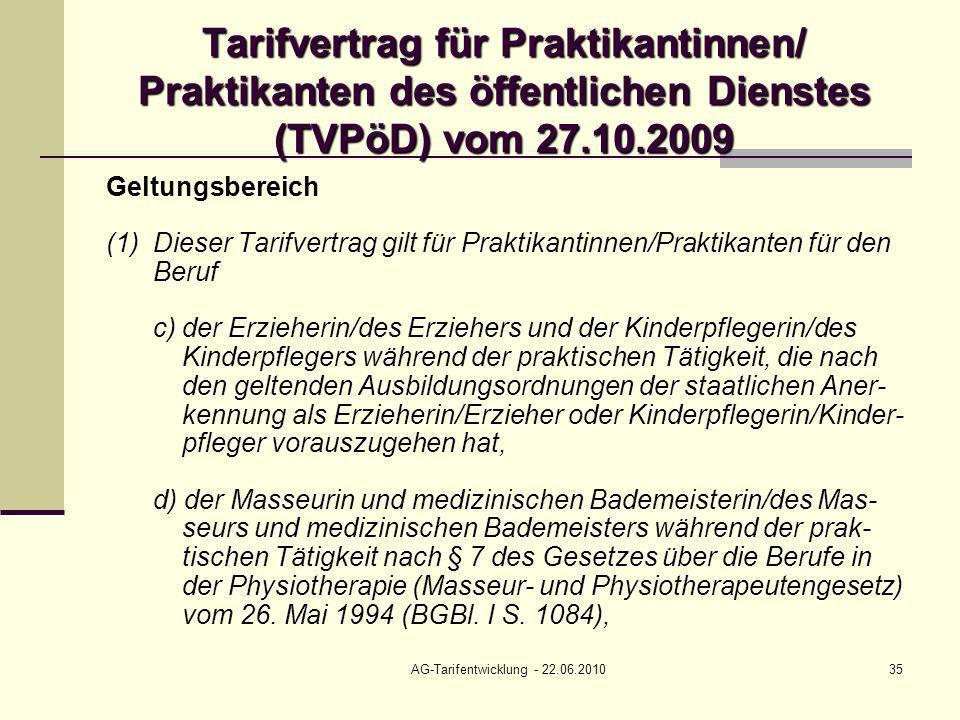 AG-Tarifentwicklung - 22.06.201035 Tarifvertrag für Praktikantinnen/ Praktikanten des öffentlichen Dienstes (TVPöD) vom 27.10.2009 Geltungsbereich (1)