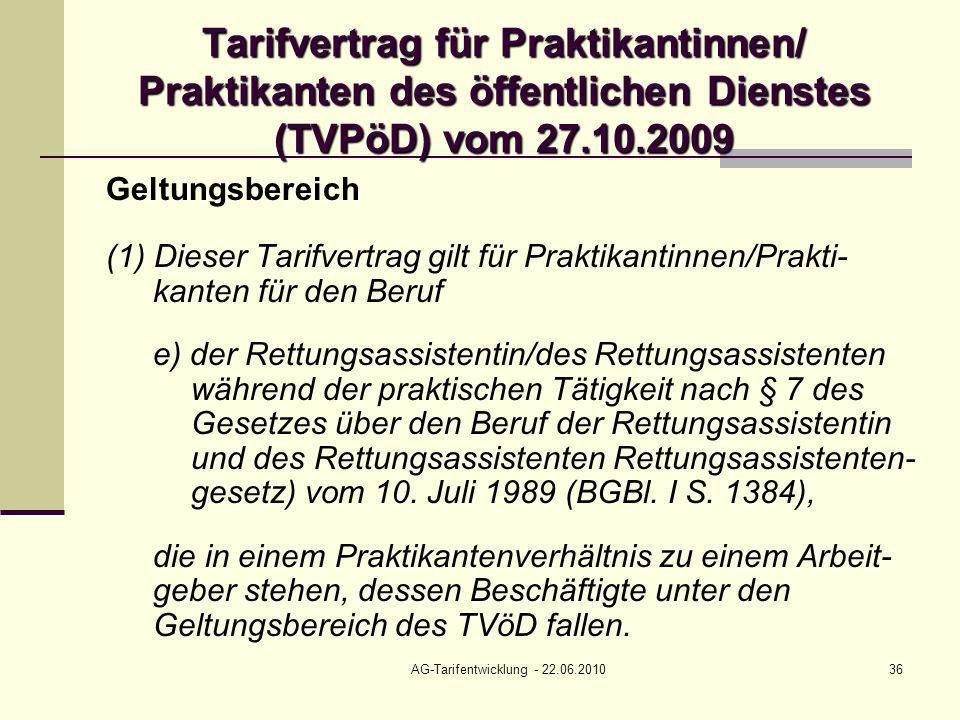 AG-Tarifentwicklung - 22.06.201036 Tarifvertrag für Praktikantinnen/ Praktikanten des öffentlichen Dienstes (TVPöD) vom 27.10.2009 Geltungsbereich (1)