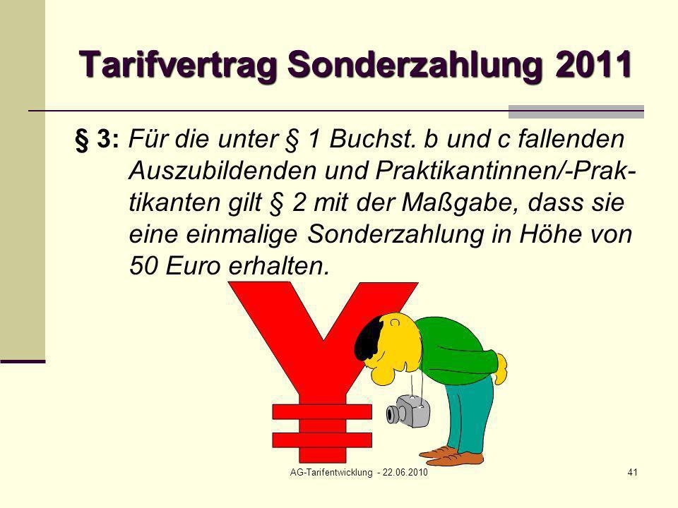 AG-Tarifentwicklung - 22.06.201041 Tarifvertrag Sonderzahlung 2011 § 3: Für die unter § 1 Buchst. b und c fallenden Auszubildenden und Praktikantinnen