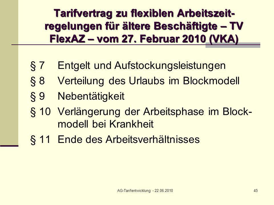 AG-Tarifentwicklung - 22.06.201045 Tarifvertrag zu flexiblen Arbeitszeit- regelungen für ältere Beschäftigte – TV FlexAZ – vom 27. Februar 2010 (VKA)