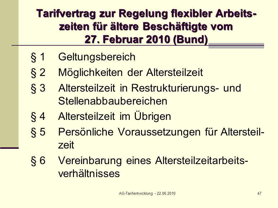 AG-Tarifentwicklung - 22.06.201047 Tarifvertrag zur Regelung flexibler Arbeits- zeiten für ältere Beschäftigte vom 27. Februar 2010 (Bund) § 1Geltungs