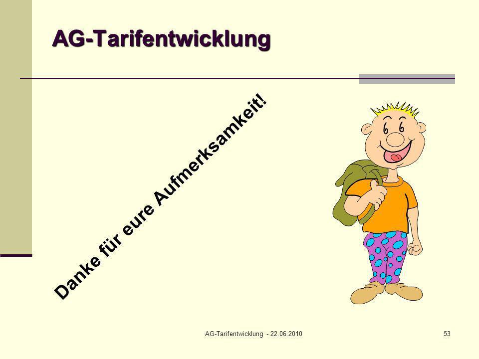 AG-Tarifentwicklung - 22.06.201053 AG-Tarifentwicklung Danke für eure Aufmerksamkeit!