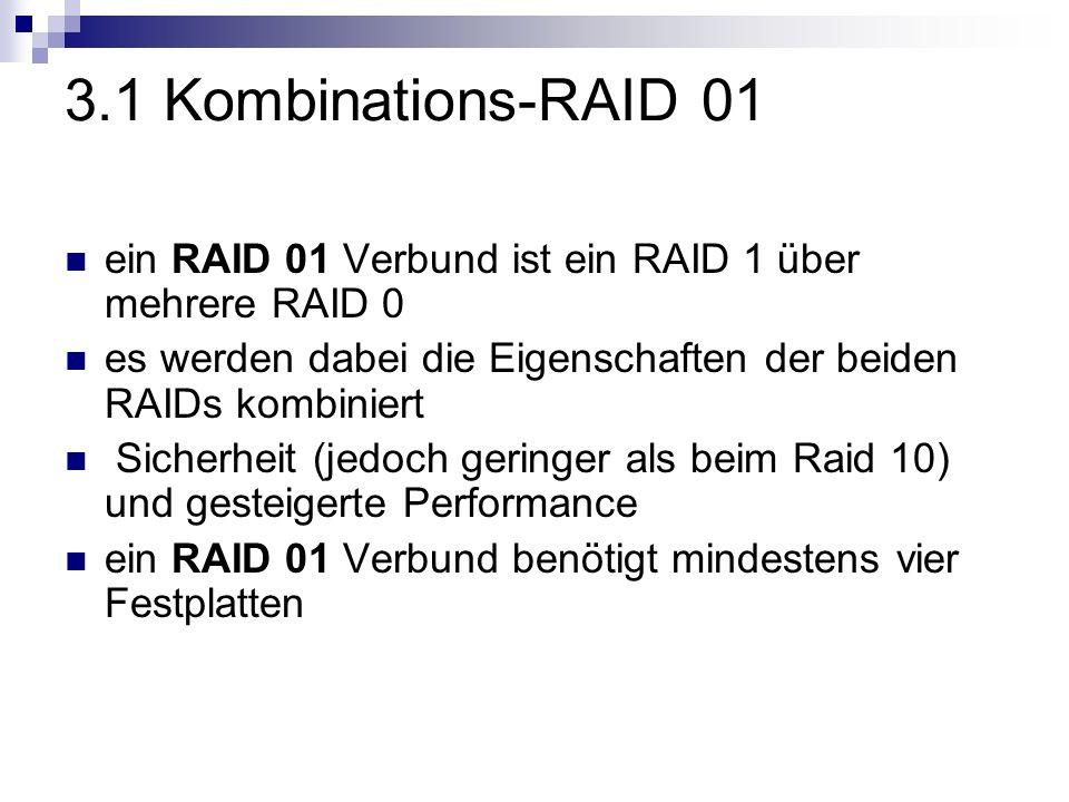 3.1 Kombinations-RAID 01 ein RAID 01 Verbund ist ein RAID 1 über mehrere RAID 0 es werden dabei die Eigenschaften der beiden RAIDs kombiniert Sicherhe