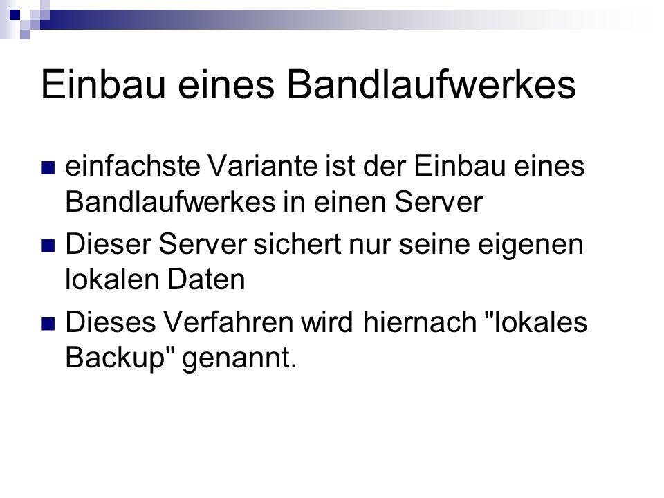 Einbau eines Bandlaufwerkes einfachste Variante ist der Einbau eines Bandlaufwerkes in einen Server Dieser Server sichert nur seine eigenen lokalen Da
