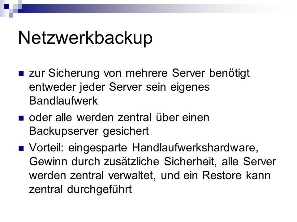 Netzwerkbackup zur Sicherung von mehrere Server benötigt entweder jeder Server sein eigenes Bandlaufwerk oder alle werden zentral über einen Backupser