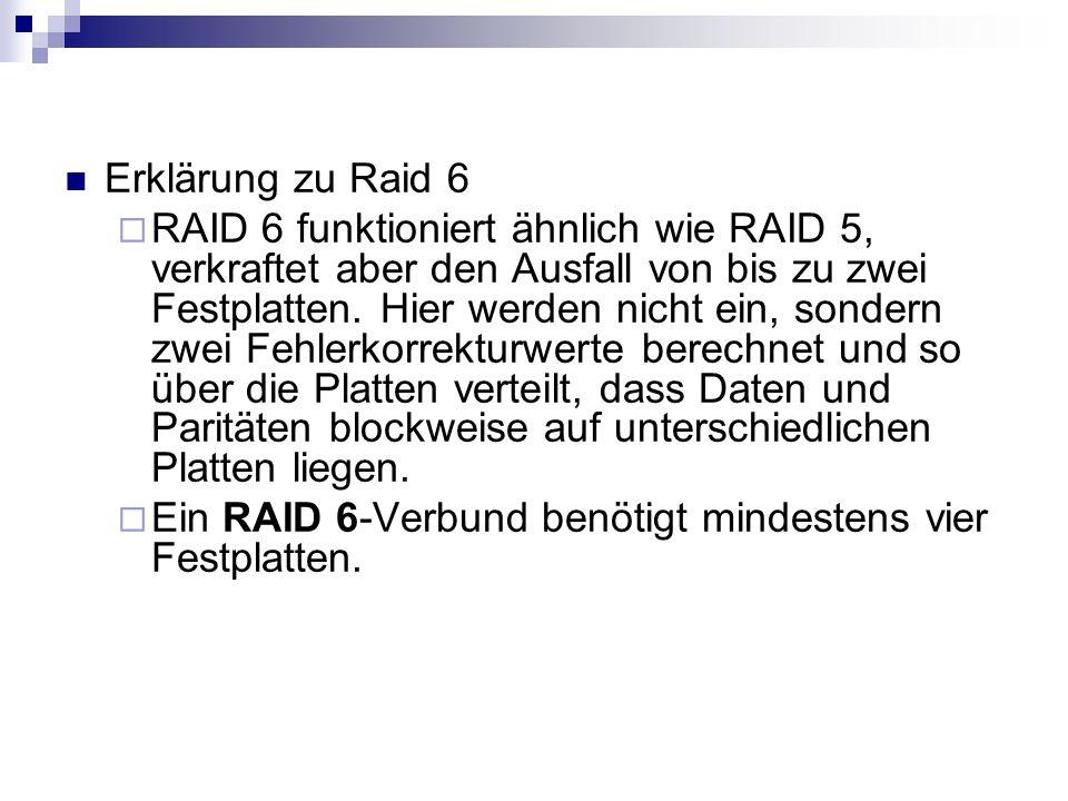 Erklärung zu Raid 6 RAID 6 funktioniert ähnlich wie RAID 5, verkraftet aber den Ausfall von bis zu zwei Festplatten. Hier werden nicht ein, sondern zw
