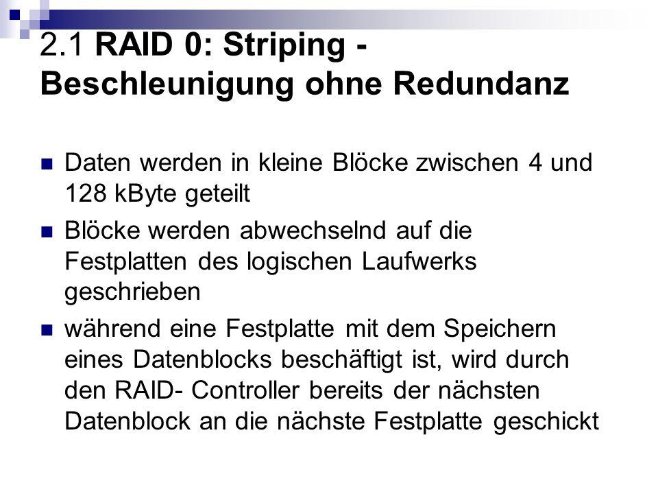 2.1 RAID 0: Striping - Beschleunigung ohne Redundanz Daten werden in kleine Blöcke zwischen 4 und 128 kByte geteilt Blöcke werden abwechselnd auf die