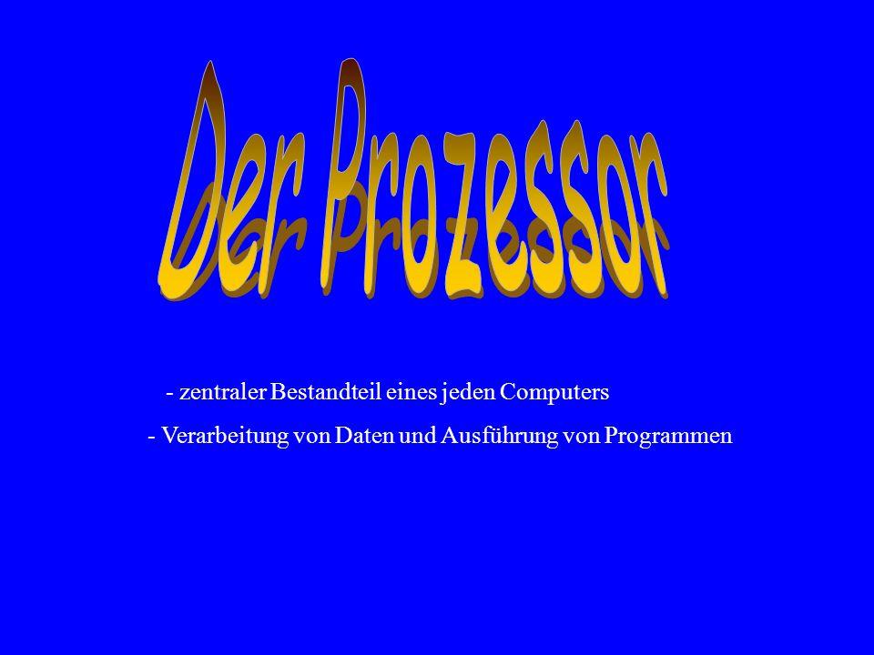 - zentraler Bestandteil eines jeden Computers - Verarbeitung von Daten und Ausführung von Programmen