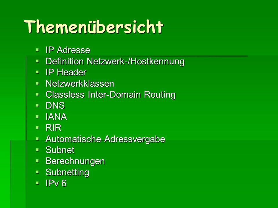 Themenübersicht IP Adresse IP Adresse Definition Netzwerk-/Hostkennung Definition Netzwerk-/Hostkennung IP Header IP Header Netzwerkklassen Netzwerkkl