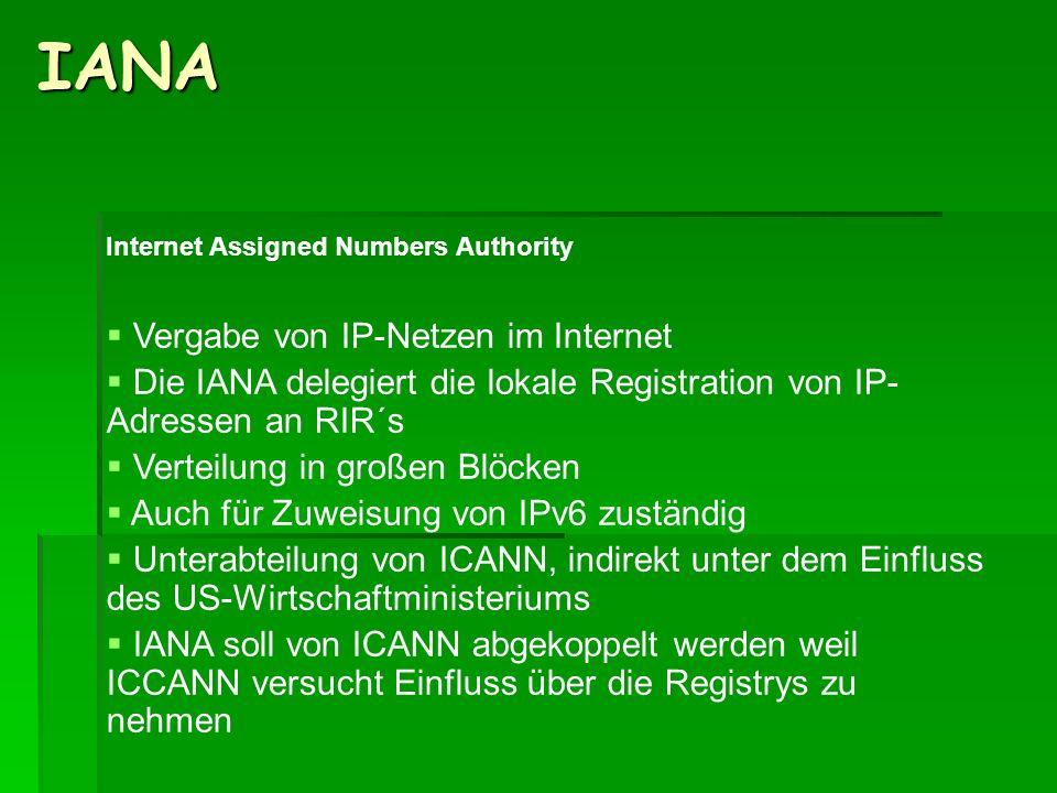 IANA Internet Assigned Numbers Authority Vergabe von IP-Netzen im Internet Die IANA delegiert die lokale Registration von IP- Adressen an RIR´s Vertei