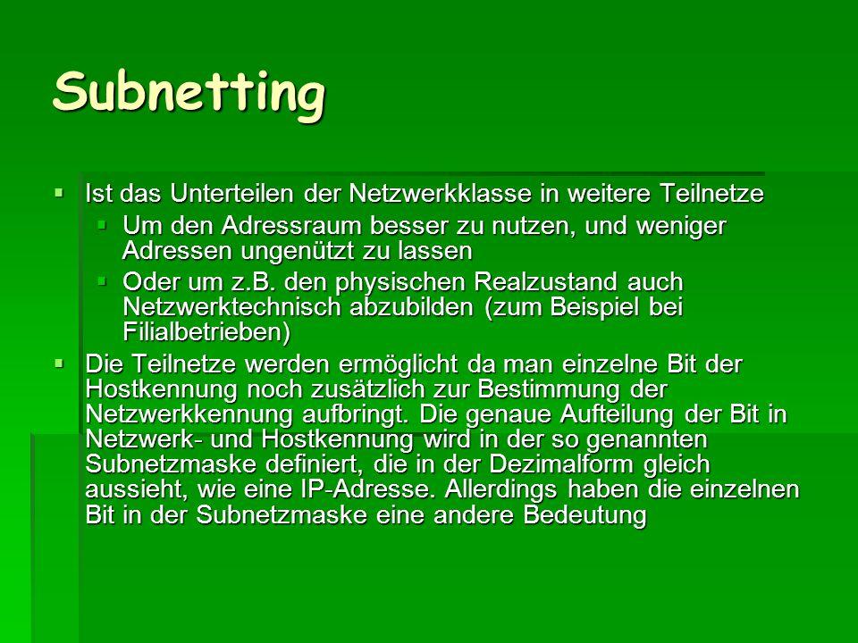 Subnetting Ist das Unterteilen der Netzwerkklasse in weitere Teilnetze Ist das Unterteilen der Netzwerkklasse in weitere Teilnetze Um den Adressraum b