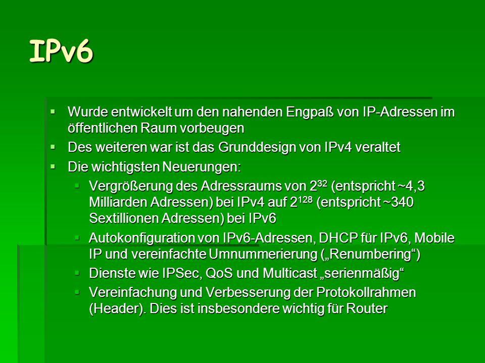 IPv6 Wurde entwickelt um den nahenden Engpaß von IP-Adressen im öffentlichen Raum vorbeugen Wurde entwickelt um den nahenden Engpaß von IP-Adressen im