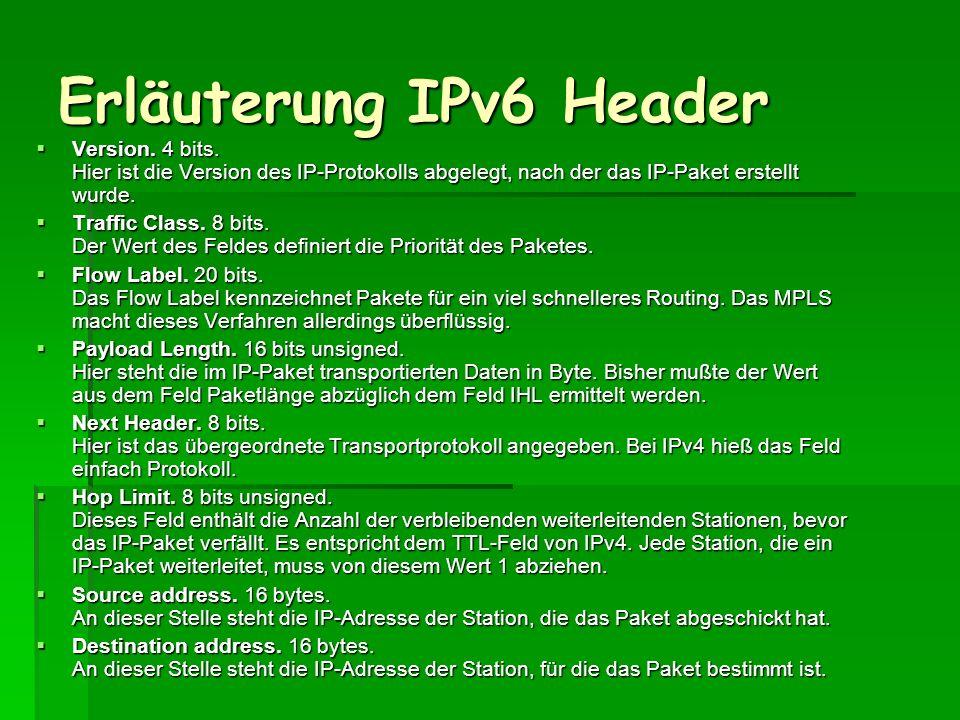 Erläuterung IPv6 Header Version. 4 bits. Hier ist die Version des IP-Protokolls abgelegt, nach der das IP-Paket erstellt wurde. Version. 4 bits. Hier