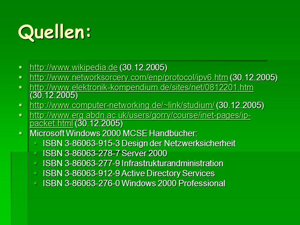 Quellen: http://www.wikipedia.de (30.12.2005) http://www.wikipedia.de (30.12.2005) http://www.wikipedia.de http://www.networksorcery.com/enp/protocol/