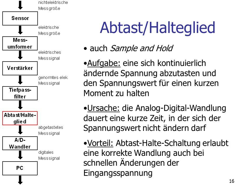 16 Abtast/Halteglied auch Sample and Hold Aufgabe: eine sich kontinuierlich ändernde Spannung abzutasten und den Spannungswert für einen kurzen Moment