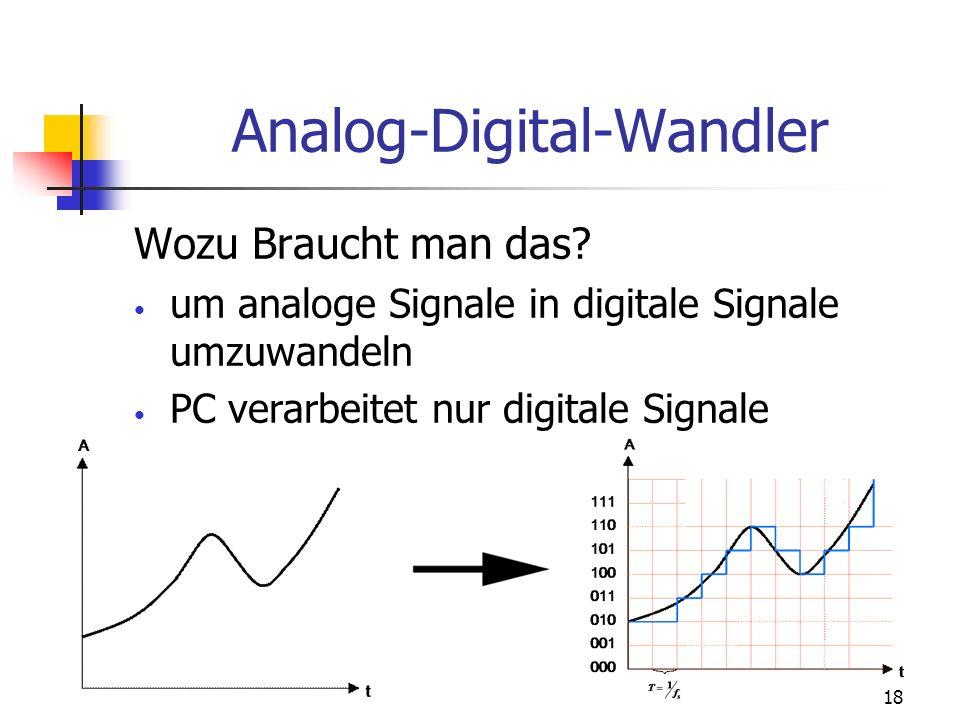 18 Analog-Digital-Wandler Wozu Braucht man das? um analoge Signale in digitale Signale umzuwandeln PC verarbeitet nur digitale Signale