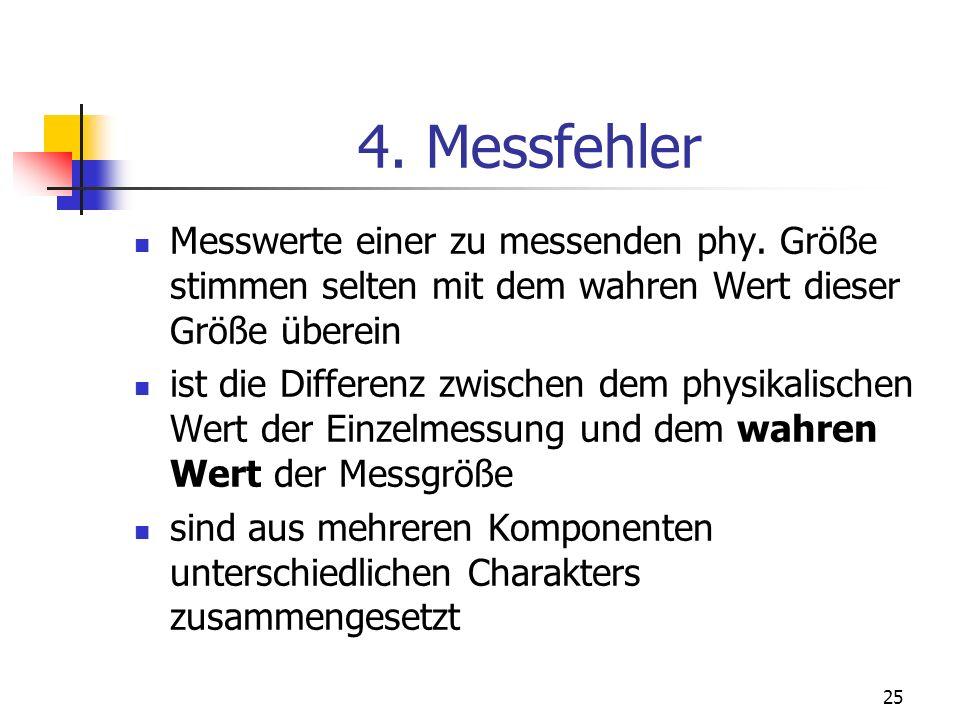 25 4. Messfehler Messwerte einer zu messenden phy. Größe stimmen selten mit dem wahren Wert dieser Größe überein ist die Differenz zwischen dem physik