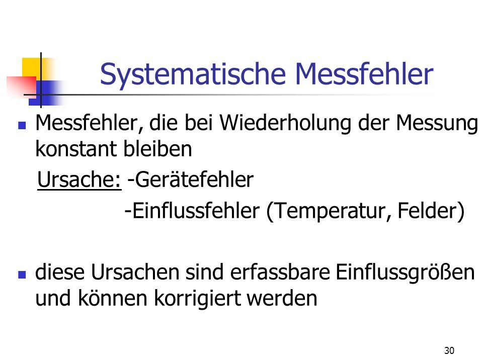 30 Systematische Messfehler Messfehler, die bei Wiederholung der Messung konstant bleiben Ursache: -Gerätefehler -Einflussfehler (Temperatur, Felder)