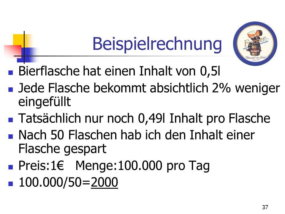 37 Beispielrechnung Bierflasche hat einen Inhalt von 0,5l Jede Flasche bekommt absichtlich 2% weniger eingefüllt Tatsächlich nur noch 0,49l Inhalt pro