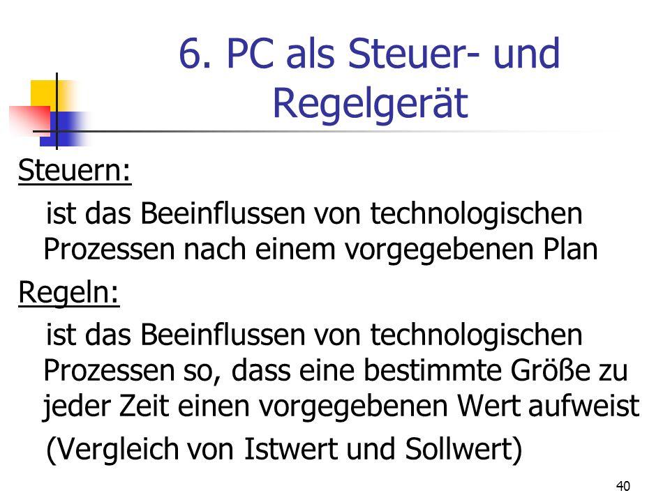 40 6. PC als Steuer- und Regelgerät Steuern: ist das Beeinflussen von technologischen Prozessen nach einem vorgegebenen Plan Regeln: ist das Beeinflus