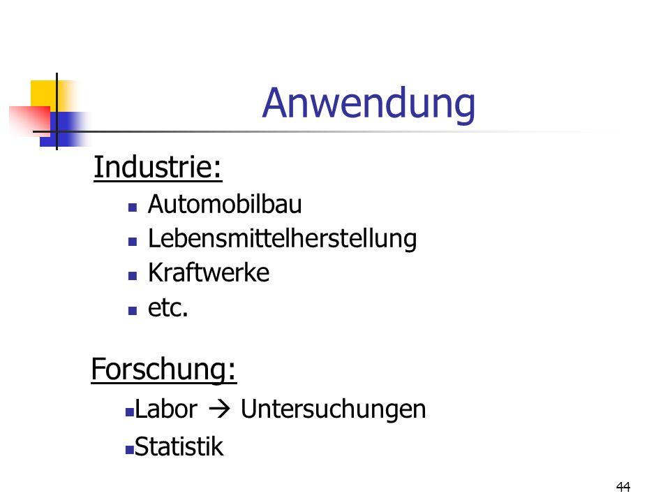 44 Anwendung Industrie: Automobilbau Lebensmittelherstellung Kraftwerke etc. Forschung: Labor Untersuchungen Statistik