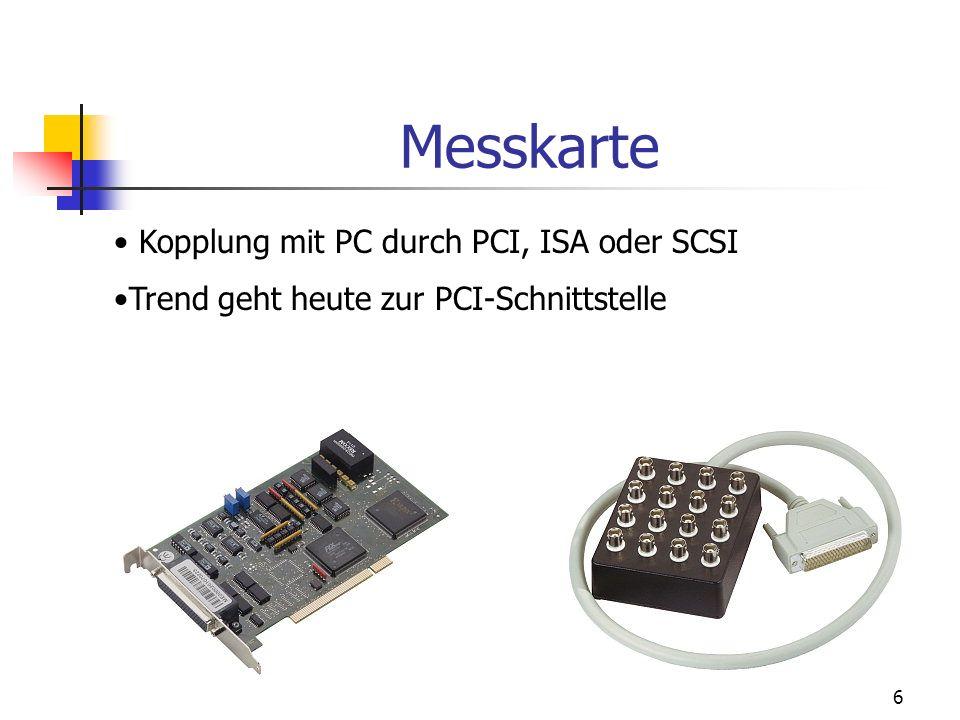 6 Messkarte Kopplung mit PC durch PCI, ISA oder SCSI Trend geht heute zur PCI-Schnittstelle