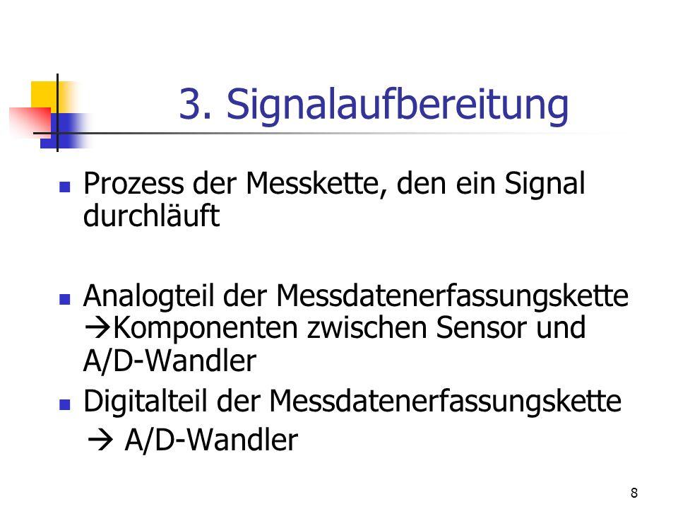 8 3. Signalaufbereitung Prozess der Messkette, den ein Signal durchläuft Analogteil der Messdatenerfassungskette Komponenten zwischen Sensor und A/D-W