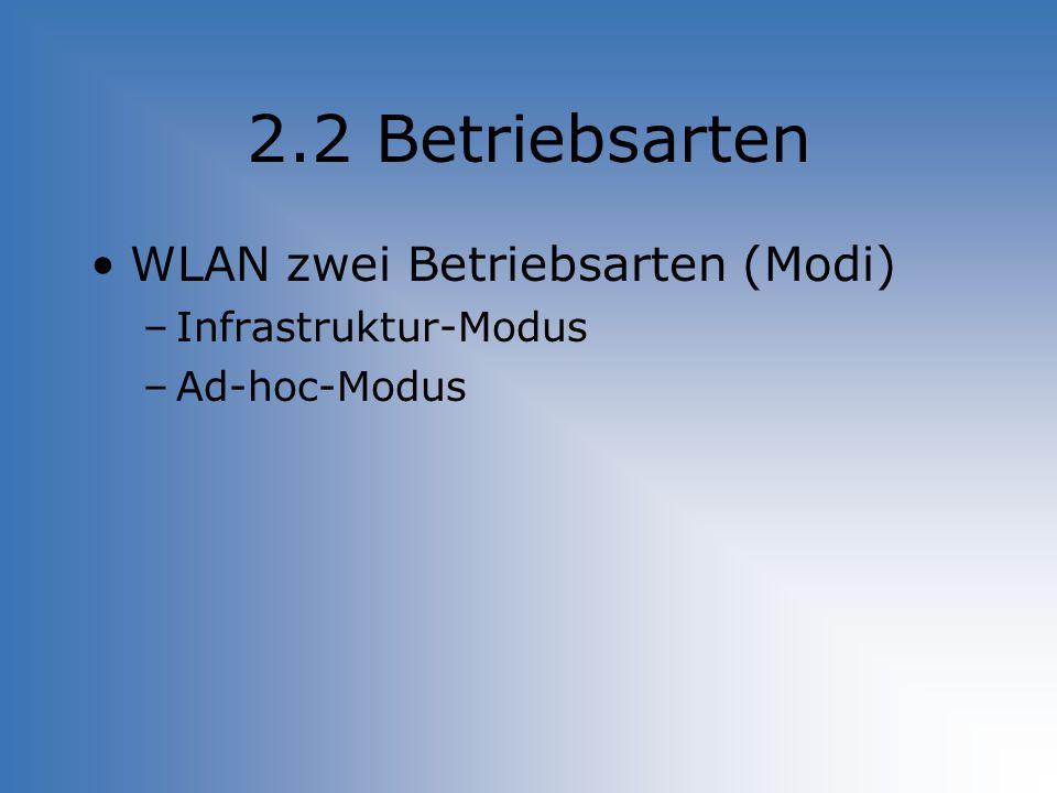 2.2 Betriebsarten WLAN zwei Betriebsarten (Modi) –Infrastruktur-Modus –Ad-hoc-Modus