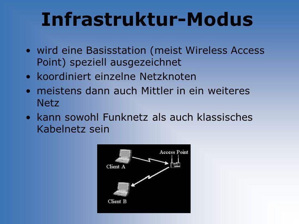 Infrastruktur-Modus wird eine Basisstation (meist Wireless Access Point) speziell ausgezeichnet koordiniert einzelne Netzknoten meistens dann auch Mit