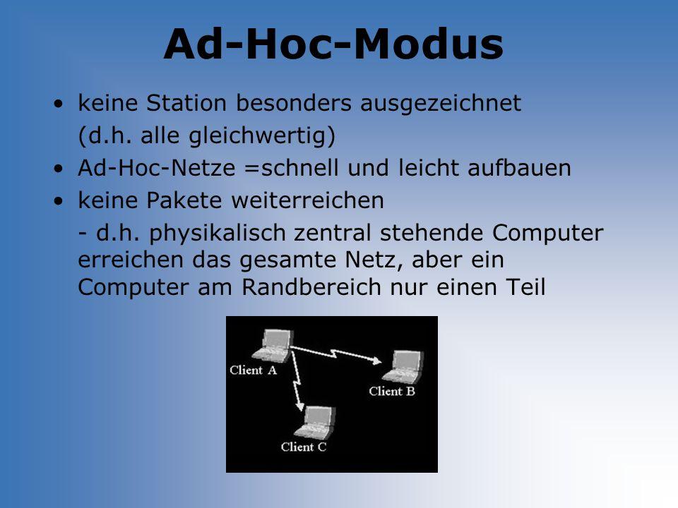 Ad-Hoc-Modus keine Station besonders ausgezeichnet (d.h. alle gleichwertig) Ad-Hoc-Netze =schnell und leicht aufbauen keine Pakete weiterreichen - d.h