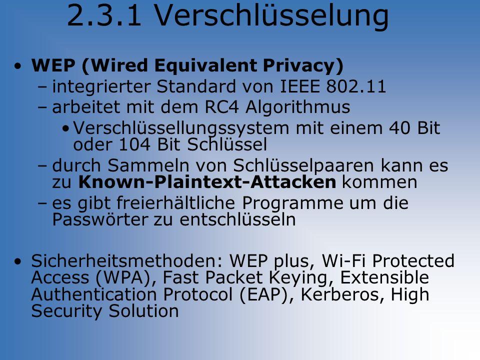 2.3.1 Verschlüsselung WEP (Wired Equivalent Privacy) –integrierter Standard von IEEE 802.11 –arbeitet mit dem RC4 Algorithmus Verschlüssellungssystem