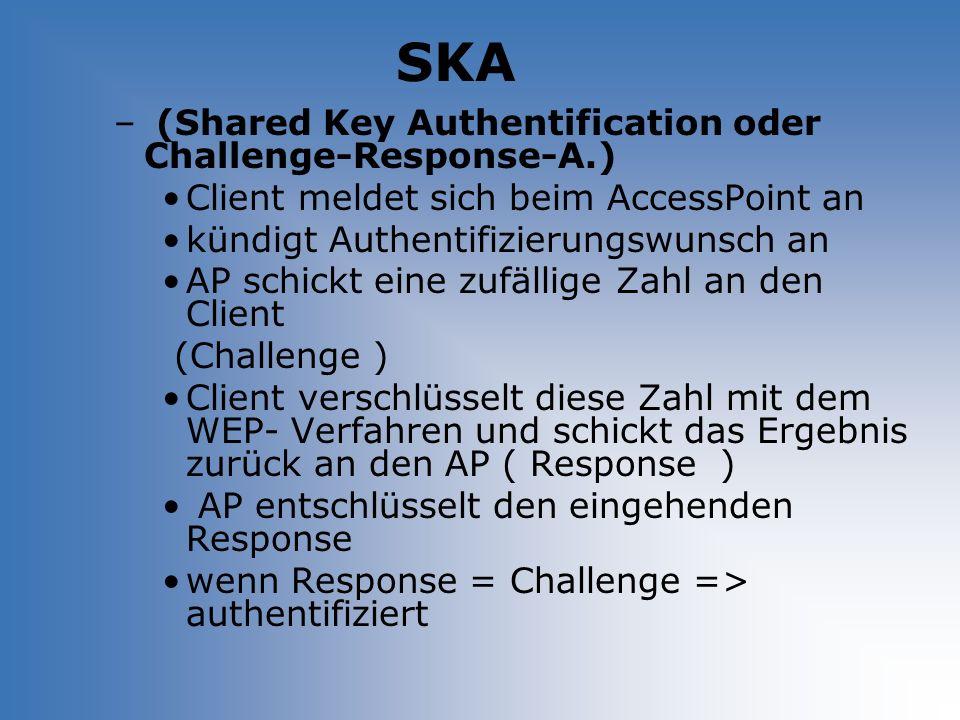 SKA – (Shared Key Authentification oder Challenge-Response-A.) Client meldet sich beim AccessPoint an kündigt Authentifizierungswunsch an AP schickt e