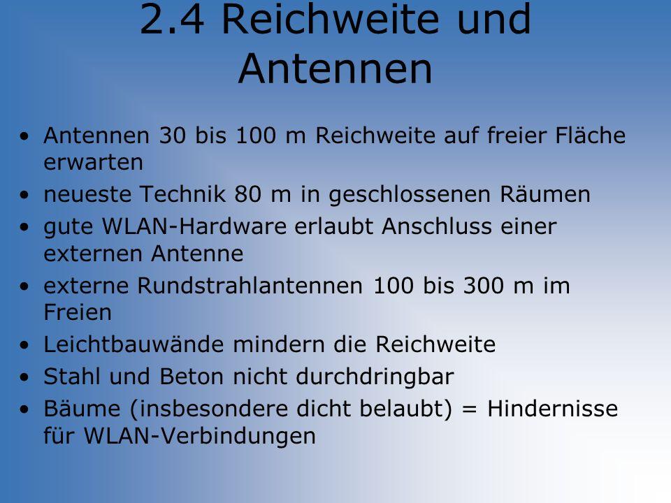 2.4 Reichweite und Antennen Antennen 30 bis 100 m Reichweite auf freier Fläche erwarten neueste Technik 80 m in geschlossenen Räumen gute WLAN-Hardwar