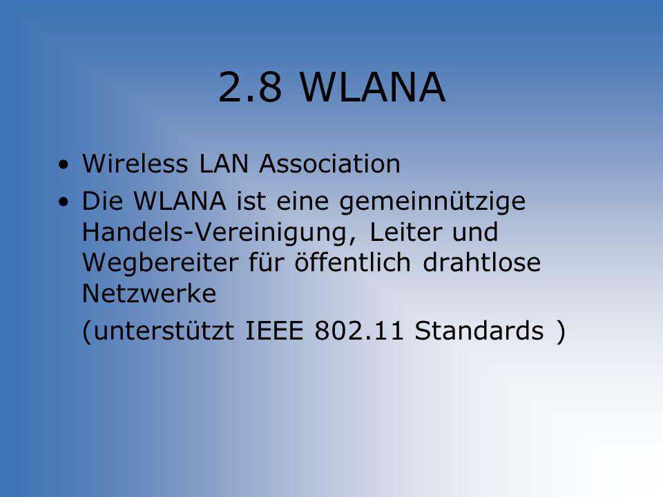 2.8 WLANA Wireless LAN Association Die WLANA ist eine gemeinnützige Handels-Vereinigung, Leiter und Wegbereiter für öffentlich drahtlose Netzwerke (un