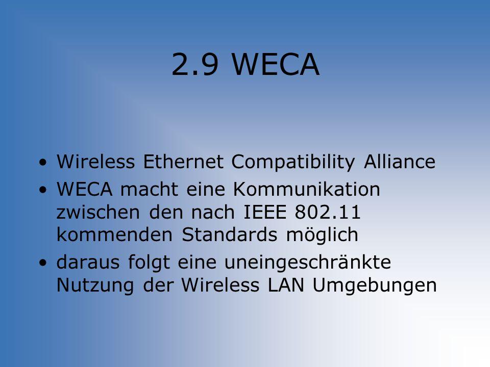 2.9 WECA Wireless Ethernet Compatibility Alliance WECA macht eine Kommunikation zwischen den nach IEEE 802.11 kommenden Standards möglich daraus folgt