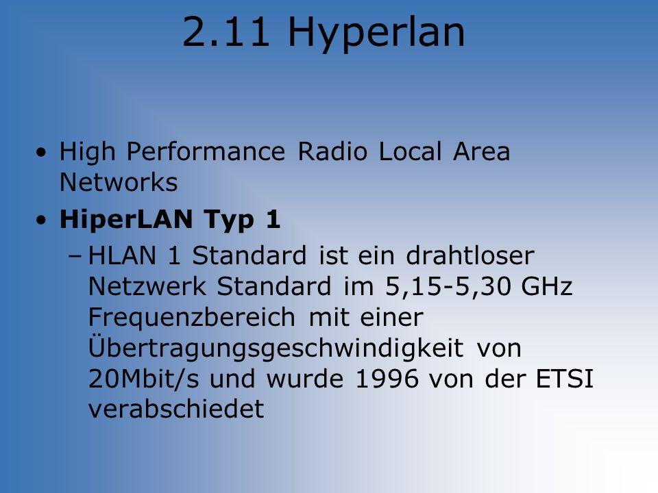 2.11 Hyperlan High Performance Radio Local Area Networks HiperLAN Typ 1 –HLAN 1 Standard ist ein drahtloser Netzwerk Standard im 5,15-5,30 GHz Frequen