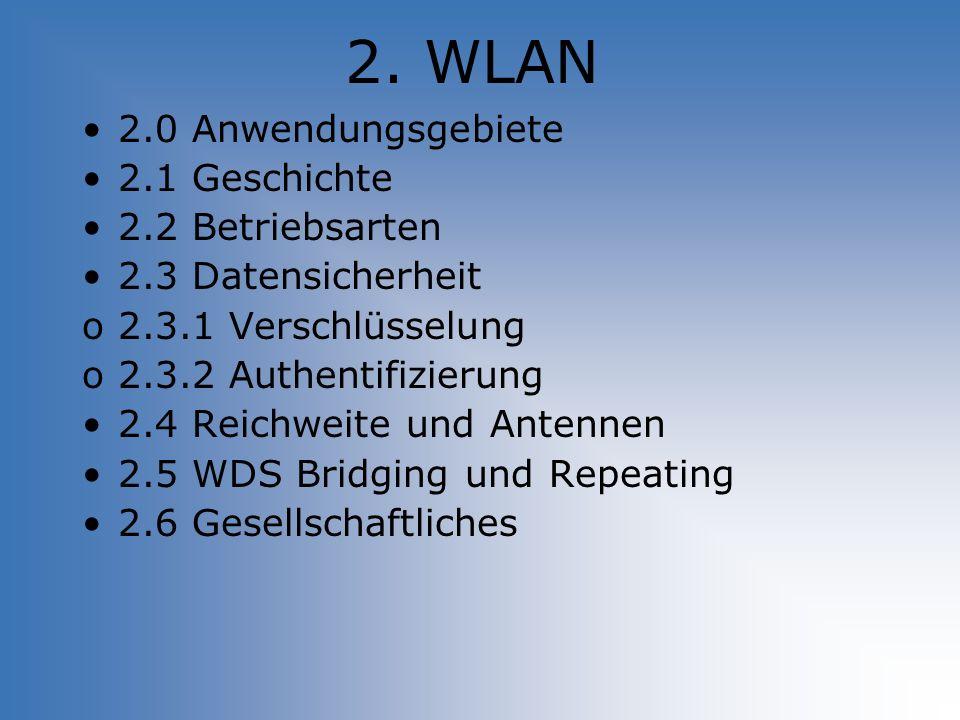 2. WLAN 2.0 Anwendungsgebiete 2.1 Geschichte 2.2 Betriebsarten 2.3 Datensicherheit o2.3.1 Verschlüsselung o2.3.2 Authentifizierung 2.4 Reichweite und