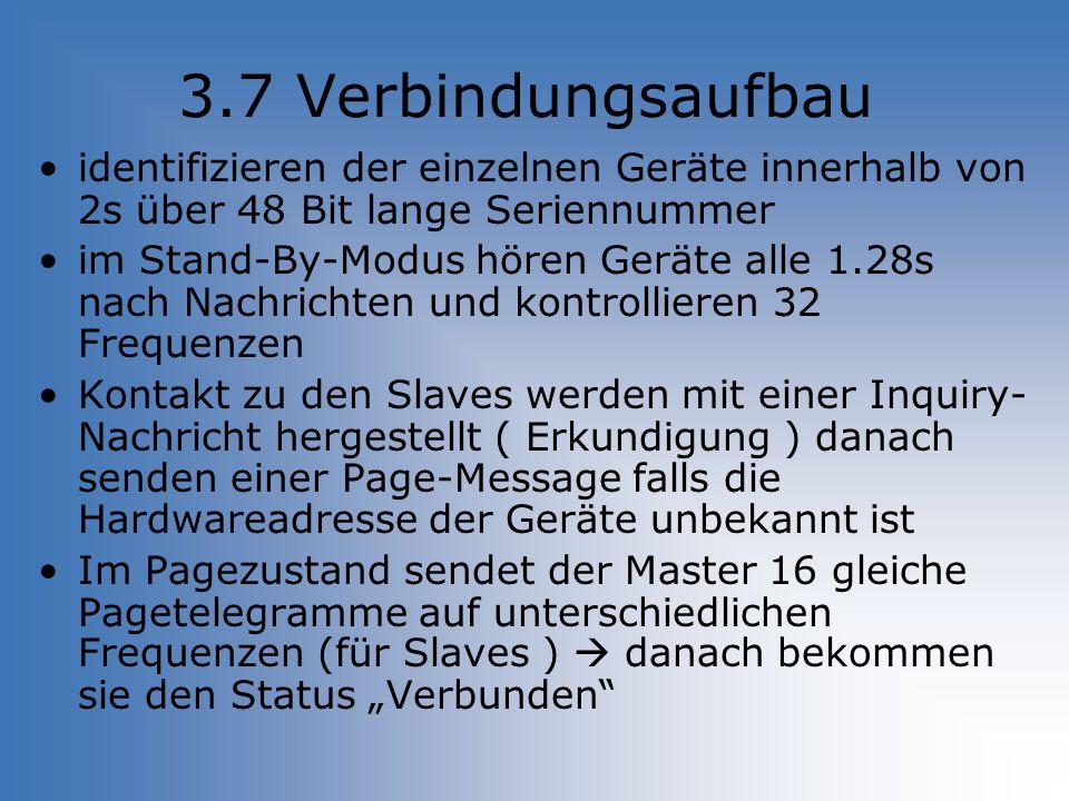 3.7 Verbindungsaufbau identifizieren der einzelnen Geräte innerhalb von 2s über 48 Bit lange Seriennummer im Stand-By-Modus hören Geräte alle 1.28s na