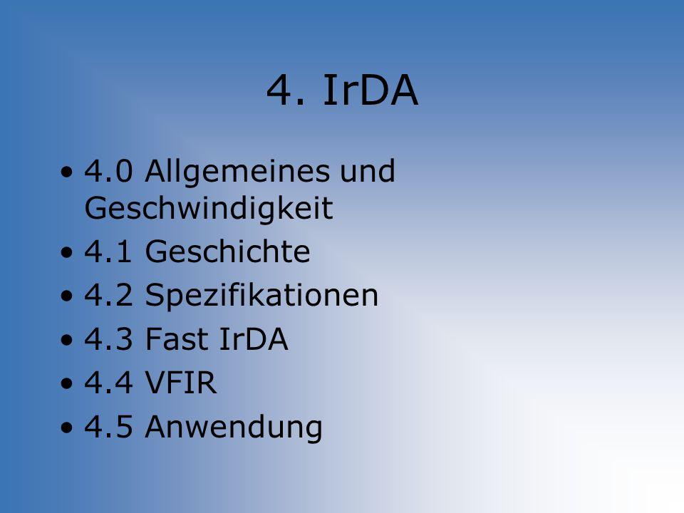 4. IrDA 4.0 Allgemeines und Geschwindigkeit 4.1 Geschichte 4.2 Spezifikationen 4.3 Fast IrDA 4.4 VFIR 4.5 Anwendung