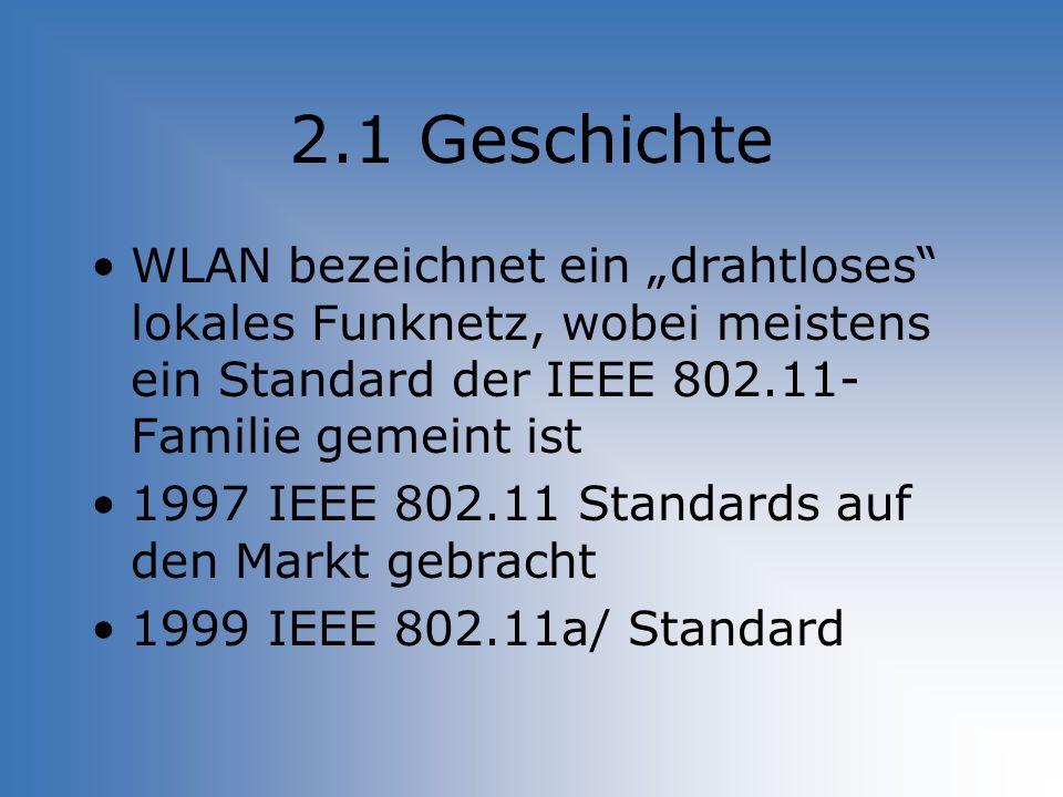 2.1 Geschichte WLAN bezeichnet ein drahtloses lokales Funknetz, wobei meistens ein Standard der IEEE 802.11- Familie gemeint ist 1997 IEEE 802.11 Stan