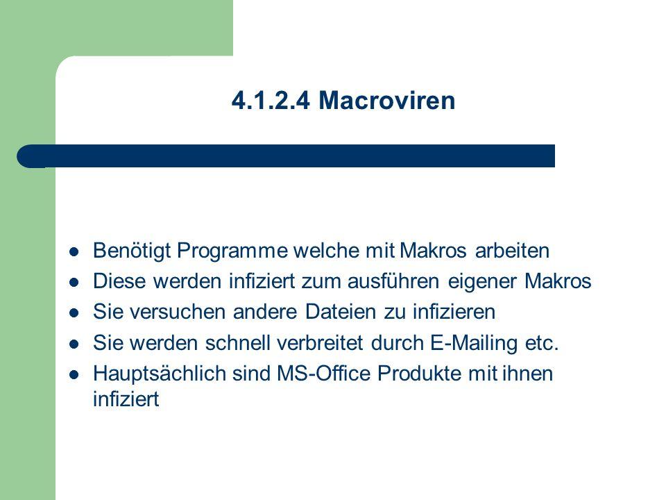 4.1.2.4 Macroviren Benötigt Programme welche mit Makros arbeiten Diese werden infiziert zum ausführen eigener Makros Sie versuchen andere Dateien zu i