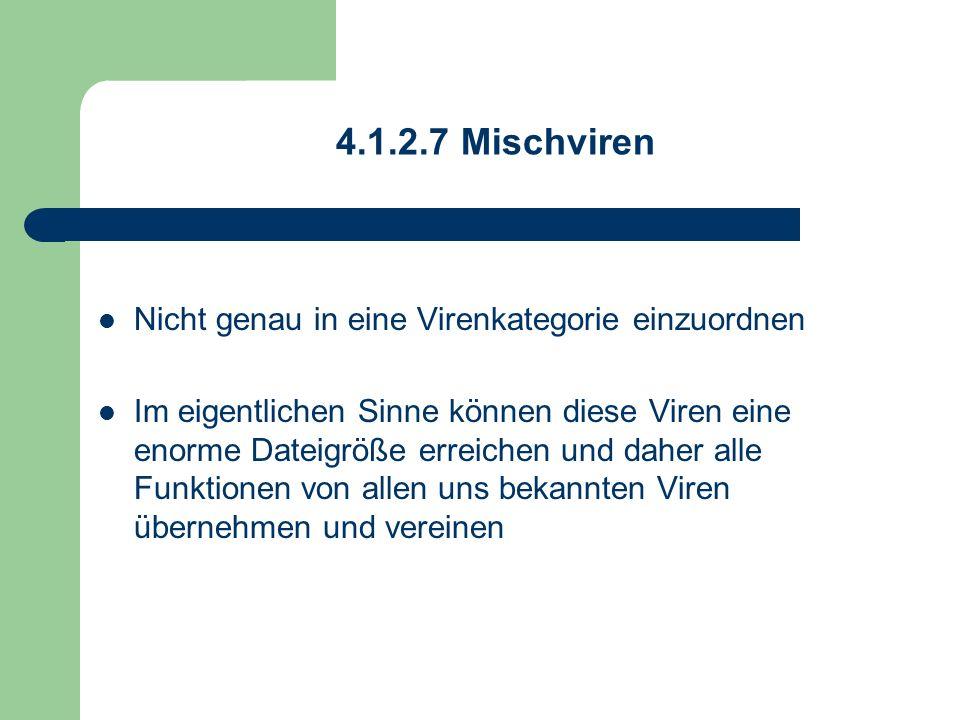 4.1.2.7 Mischviren Nicht genau in eine Virenkategorie einzuordnen Im eigentlichen Sinne können diese Viren eine enorme Dateigröße erreichen und daher